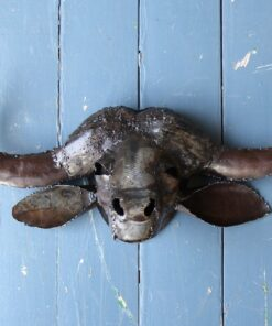 recycled metal buffalo trophy