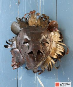 recycled metal lion trophy