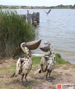 recycled metal pelicans