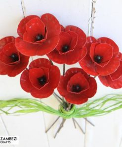 recycled metal flowers poppies