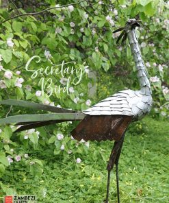 recycled metal secretary bird