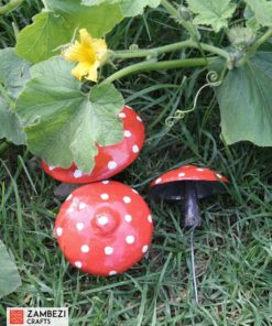 recycled metal toadstools