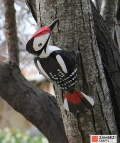 recycled metal woodpecker